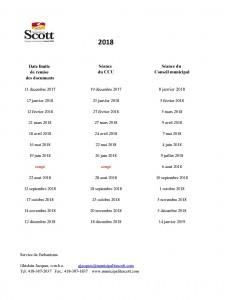 Tableau des séances du CCU et du Conseil Municipal 2018