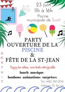 Party ouverture de la piscine et Fête de la St-Jean @ Piscine municipale